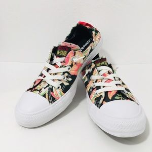 Converse slip on size 9.5 floral black tropical